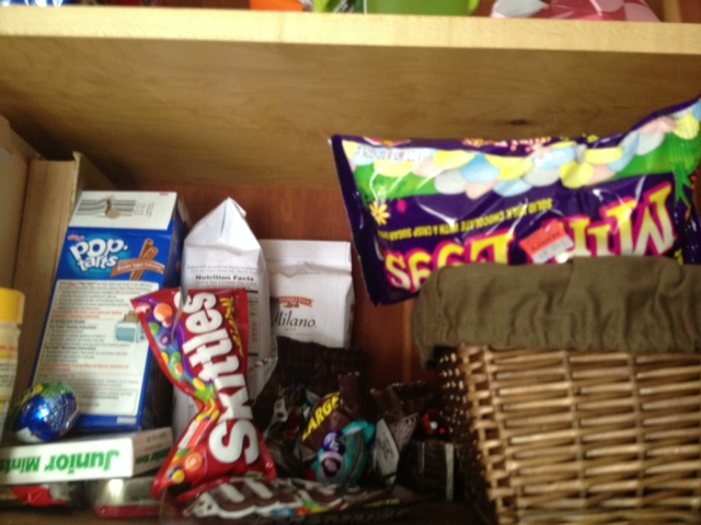"""The Goodbar has a special """"food"""" cabinet that's high up over the kids heads... but once I found it, I started using a step ladder ( people with ADHD are SMART)"""